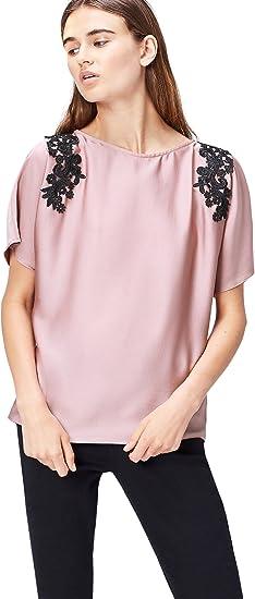 TALLA 36. Marca Amazon - find. Blusa con Blonda para Mujer