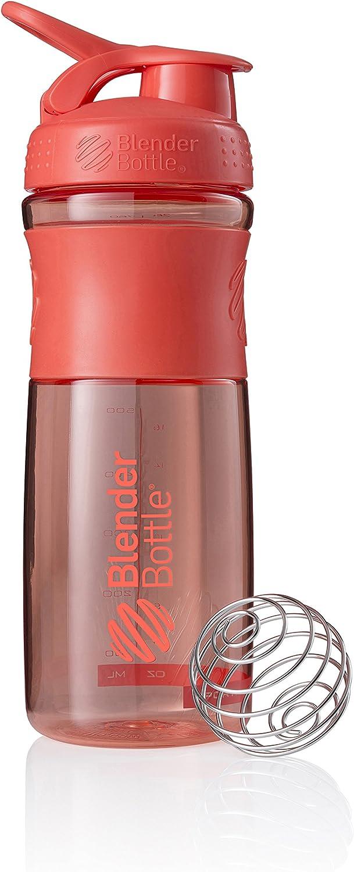 BlenderBottle SportMixer Tritan Grip Shaker Bottle, Coral/Coral, 28-Ounce