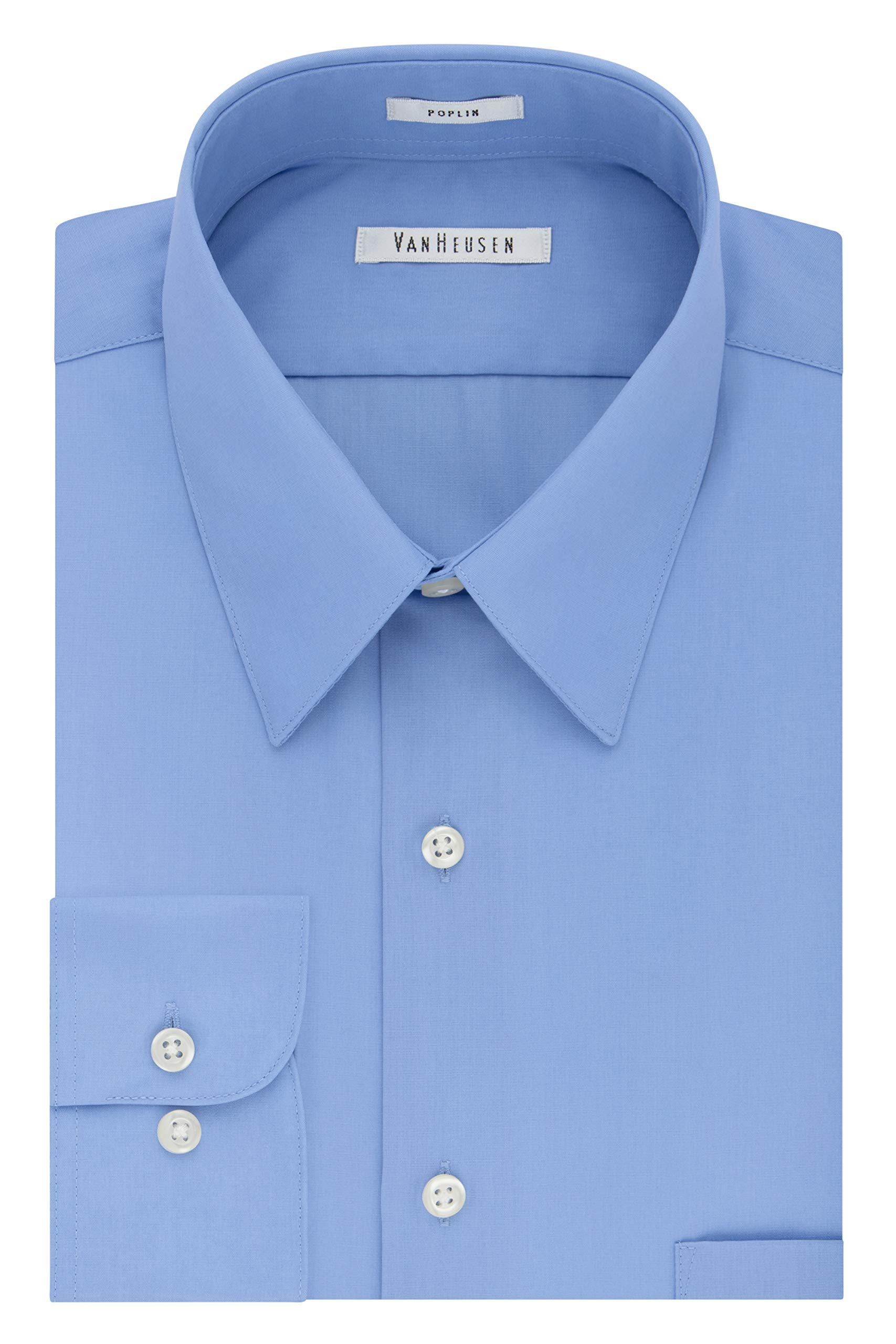 256b3bceb Van Heusen Men's Poplin Regular Fit Solid Point Collar Dress Shirt product  image