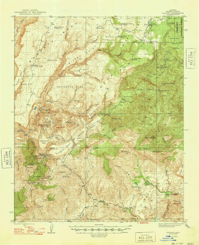 Topographical Map Of Arizona.Amazon Com Yellowmaps Bagdad Az Topo Map 1 62500 Scale