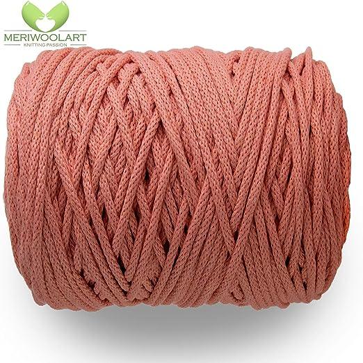 MeriWoolArt - Cordón de macramé de 10 mm x 60 m en bobina, hilo de ...