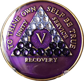 AA Purple Glitter 17 Year Coin Tri-Plate Alcoholics Anonymous Medallion Display