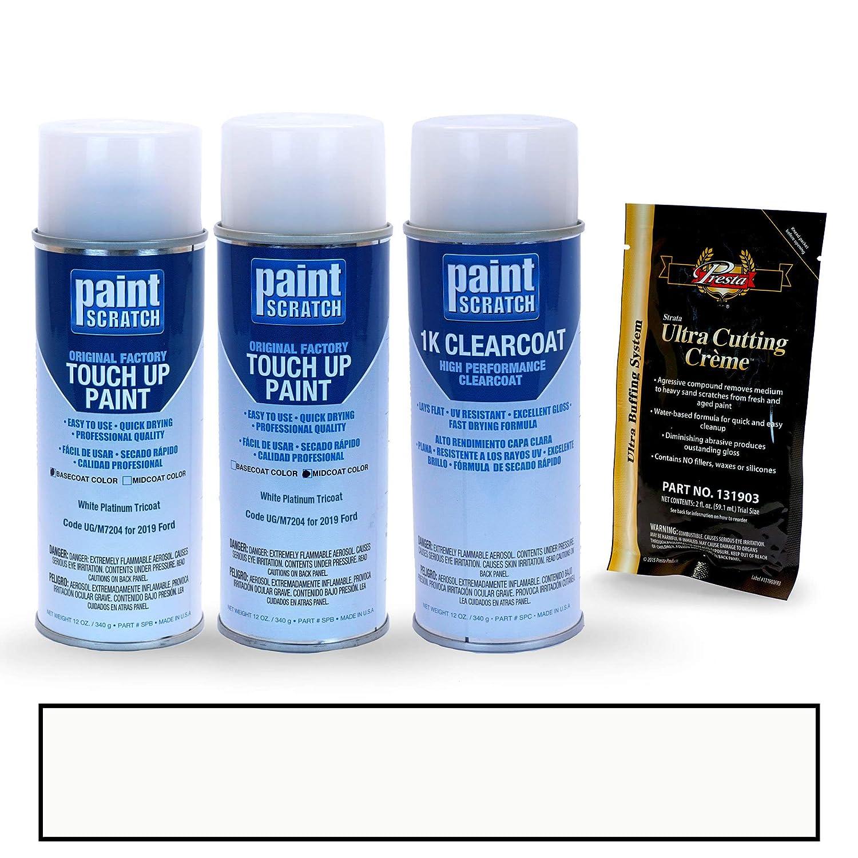 PAINTSCRATCH White Platinum Tricoat UG/M7204 for 2019 Ford Taurus - Touch Up Paint Spray Can Kit - Original Factory OEM Automotive Paint - Color Match ...
