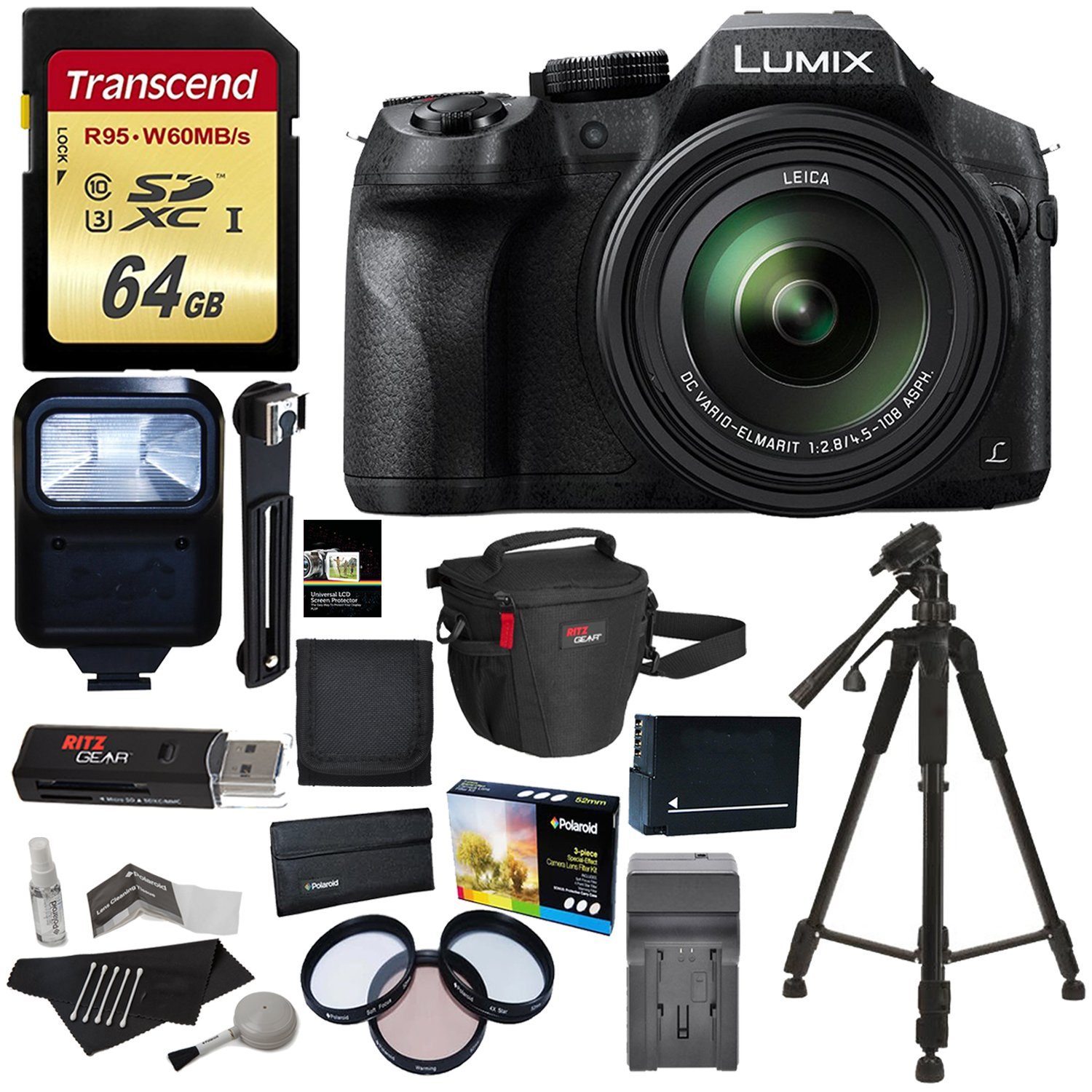 Panasonic LUMIX DMC FZ300 4K Point and Shoot Camera with Leica DC Lens 24X Zoom Black + Polaroid Accessory Kit + 64GB SD Card + 50'' Tripod + Ritz Gear Bag + Battery + Charger + Filter + Cleaning Kit
