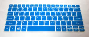 BingoBuy Semi-Blue US Layout Keyboard Protector Skin Cover for Acer Aspire V5-122 V5-122P V5-132 V5-132P V3-111P V3-112P V13 V3-331 V3-371 E11 E3-112 ES1-111M AO1-132 series with BingoBuy Card Case