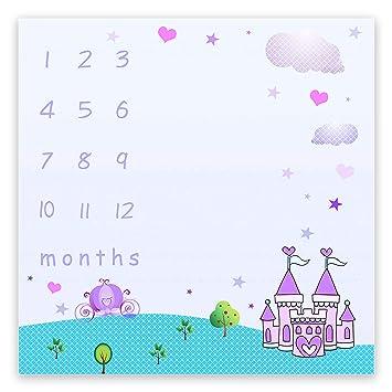 "79b7f5ee3 EARVO Baby Monthly Milestone Blanket 40""x40"" Cartoon Purple  Castle Blanket Super"