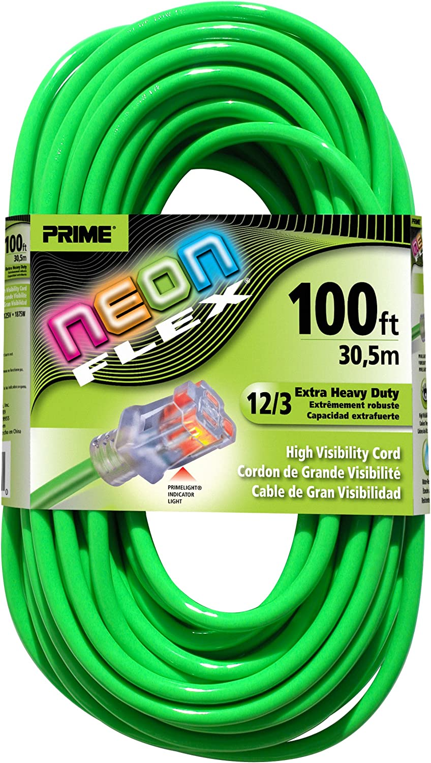UL 50/' 12 Gauge Neon Flex Pink Extension Cord w//Lighted End