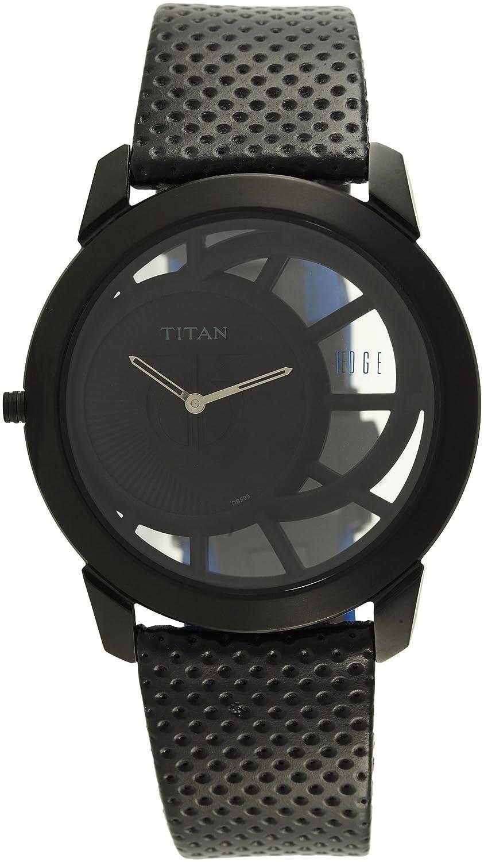 タイタンMen 'sエッジアナログダイヤル腕時計ブラック B00ASNUPW2