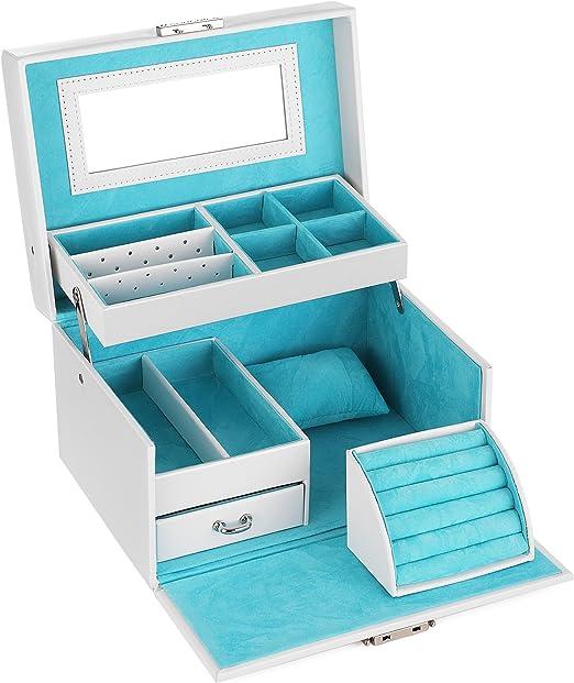 Songmics Girls Jewelry Box Lockable Jewelry Organizer Mirrored Storage Case White Ujbc114w Amazon Ca Home Kitchen