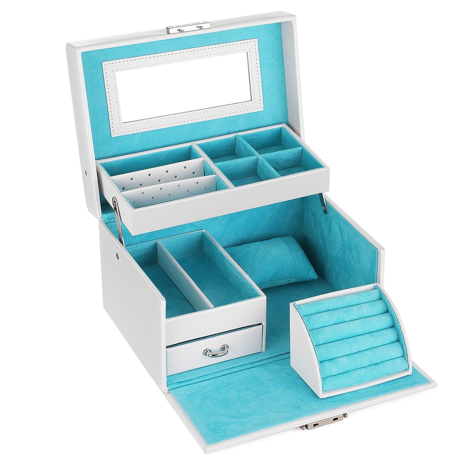 SONGMICS Portagioie Scatole per gioielli Custodia box Scatola anello JBC114W