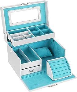 SONGMICS Jewelry Box, Girls Jewelry Organizer, Lockable Mirrored Storage Case, Gift Idea, White UJBC114W