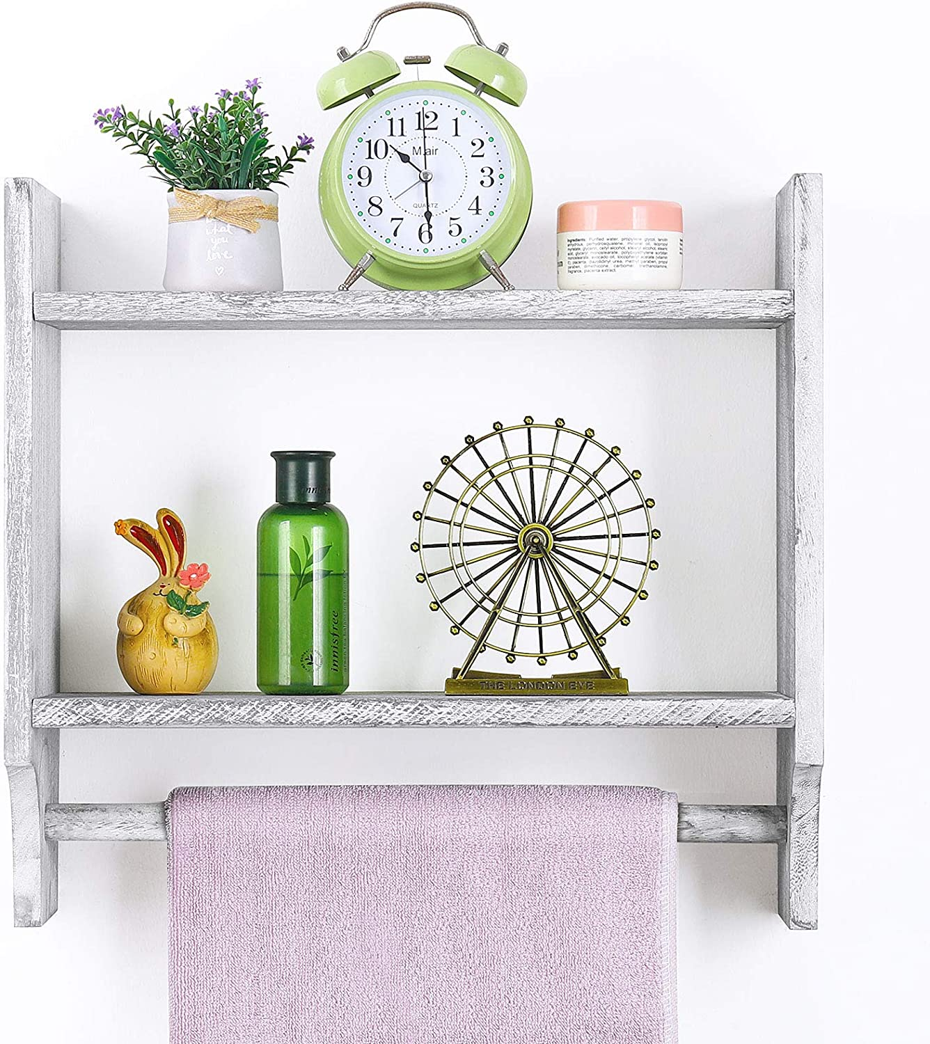 Bathroom Wall Shelves with Towel Bar, Wood Towel Rack with Shelf Wall Mounted Ladder Towel Holder Over Toilet Organizer Storage for Bathroom Living Room Kitchen Farmhouse Decor