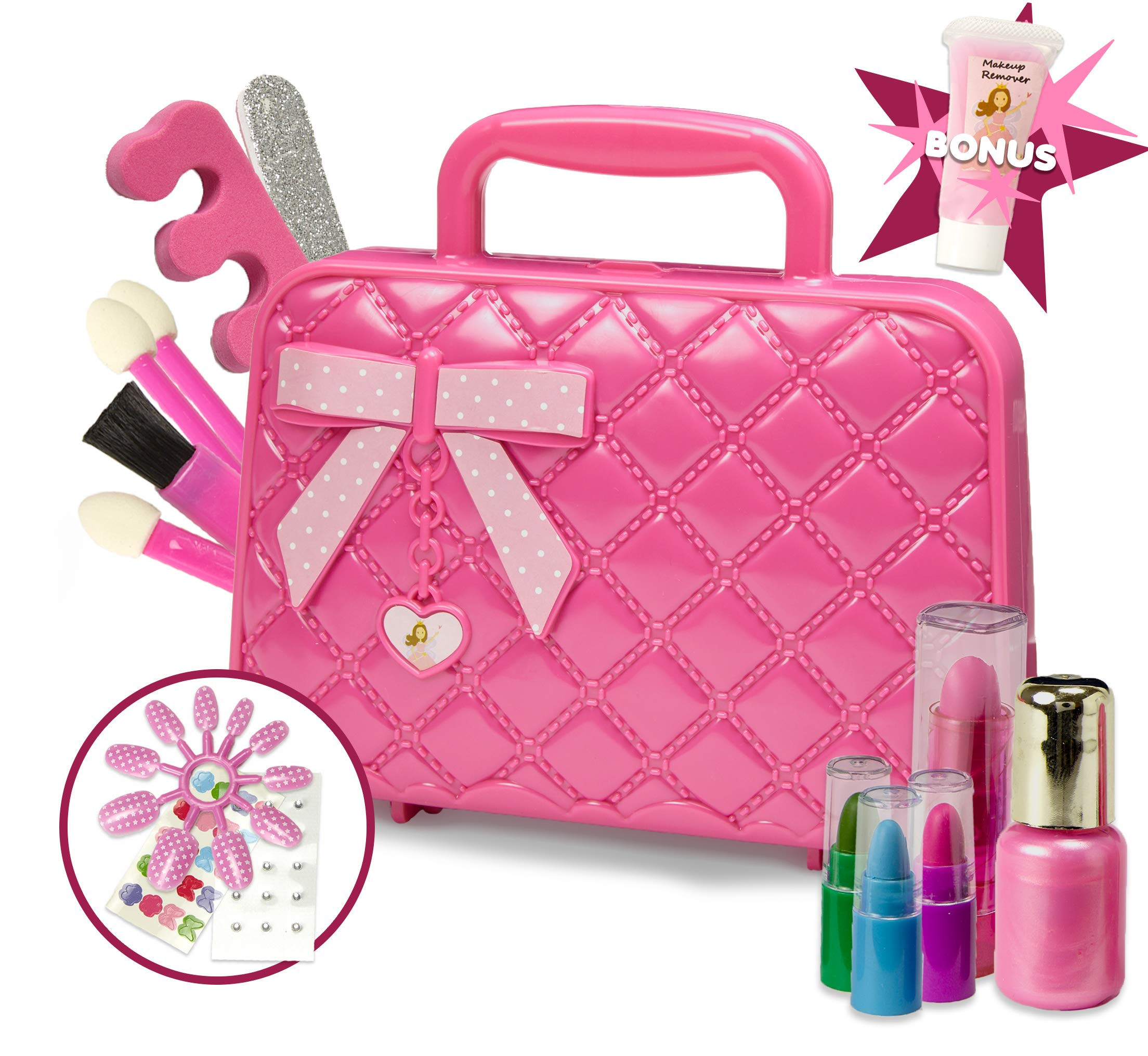 Toysical Kids Makeup Kit for Girl with Make Up Remover - 30Pc Real Washable, Non Toxic Play Princess Cosmetic Set - Ideal Birthday and Christmas Gift for Little Girls Ages 3, 4, 5, 6 Year Old Children by Toysical
