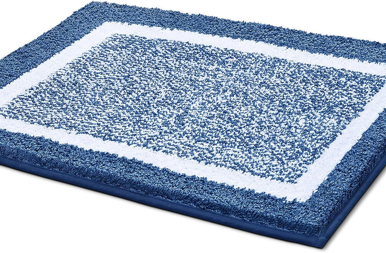 Color&Geometry Alfombra de Baño Antideslizante, Alfombrilla de Baño, Microfibra Suave, Lavable en la Lavadora, Súper Absorbente, 40 x 60 cm (Azul Oscuro)