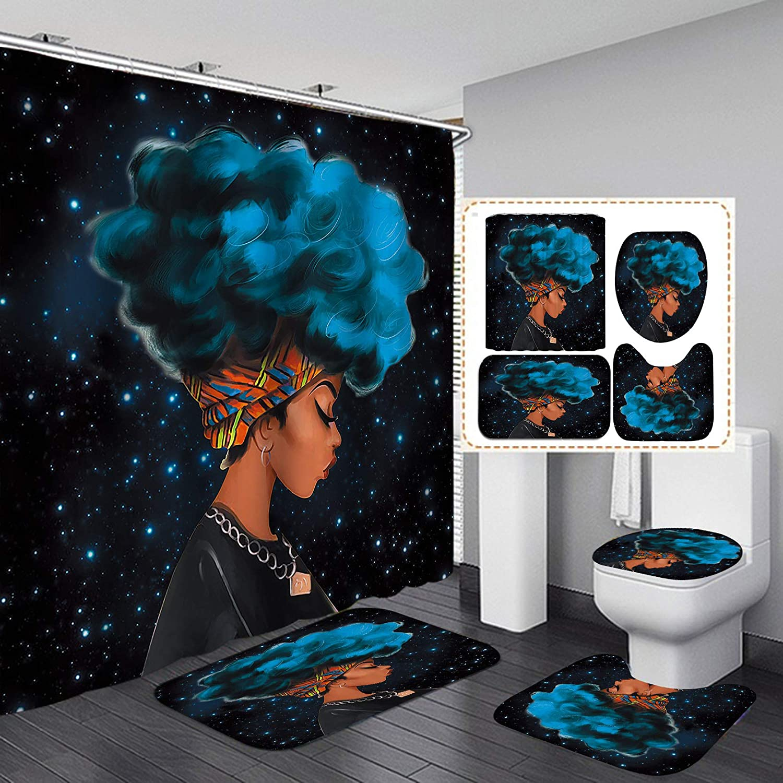 Fashion&Man 4PCS/Set Black Girl Shower Curtain, Ethnic Art Afro Girl Sexy African American Bathroom Decor, Waterproof Fabric Bath Curtain Non-Slip Bathroom Floor Mat Bath Rug Soft Toilet Carpet, Blue