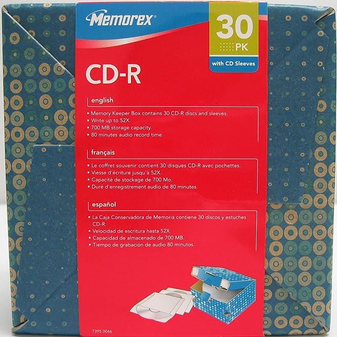 Memorex 52X CD-R Media 30 Pack + Decor Box & FREE Sleeves