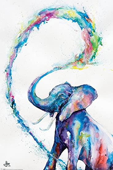 Amazon.de: Poster Bunter Elefant in Aquarellfarben - Größe 61 x 91 ...