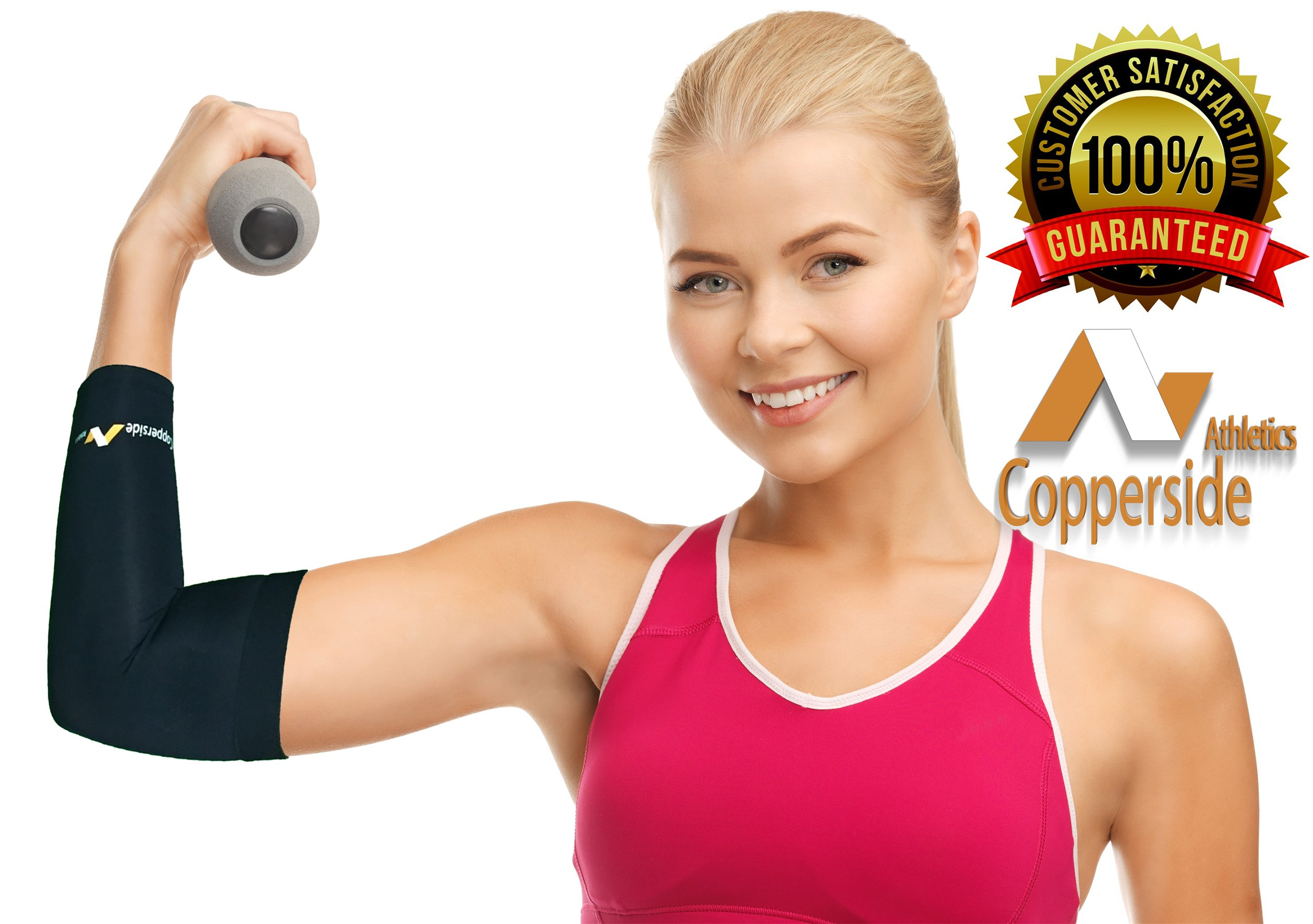 20 Pack Copper Elbow Compression Sleeve*Make Money Now!*(Copperside)Retail Bulk Wholesale for Kinesio, Physio Therapy, Chiropractors, Gyms, Free Display Case with Some Purchases. Full Support Provided by Copperside Athletics (Image #5)