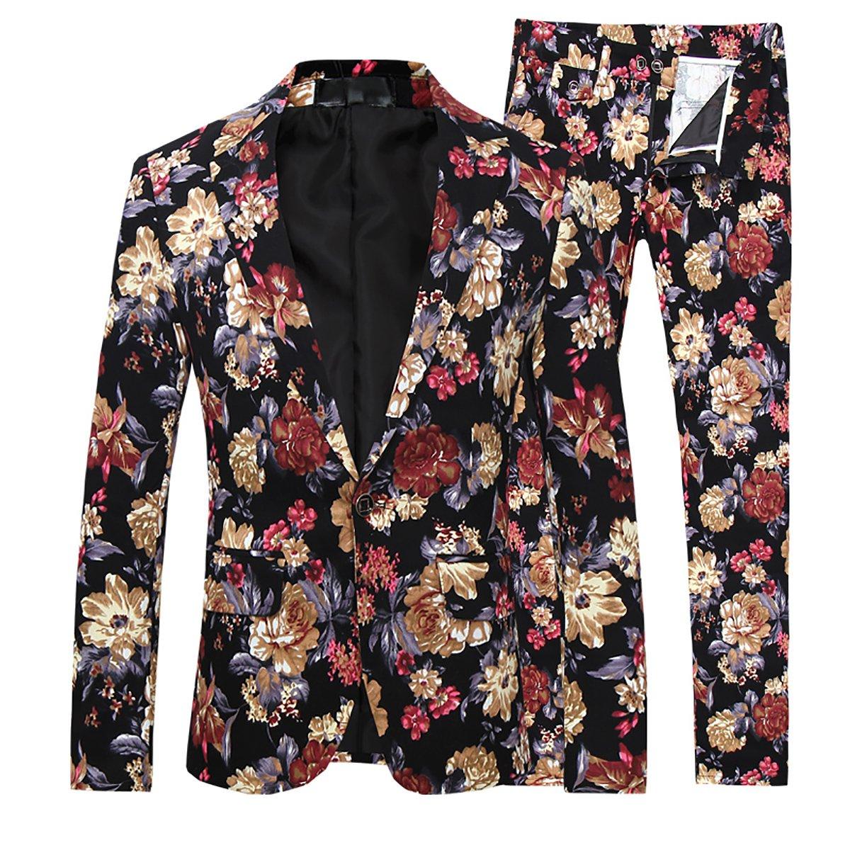 Mens 2 Piece Suit Notched Lapel Sport Coat Floral One Button Slim Fit Tweed Suit, K1, Medium