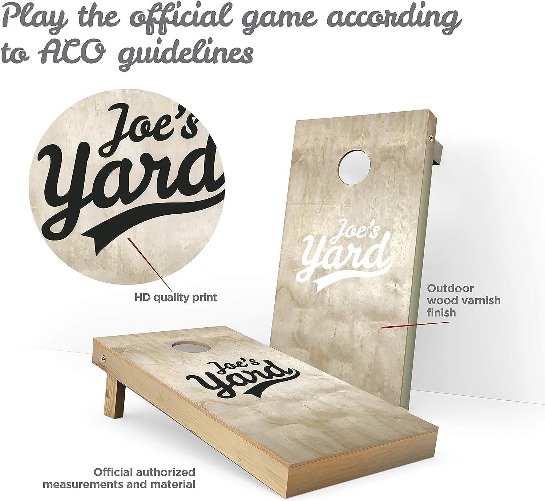 Professional Cornhole Set Yard Game Set of 8 Corn Hole Toss Bags Solid Wood Cornhole Joe/´s Yards Board Toss Game Solid Wood Premium Cornhole Set Cornhole Regulation Game Set Lawn Yard Game,