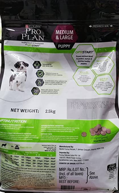 c9fcddc81c752 Buy Purina Pro Plan Puppy Medium   Large Breed 2.5 kg Online at Low Prices  in India - Amazon.in