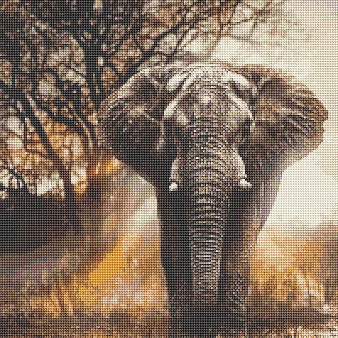 5D Full Square Diamond Painting Kit DIY Drill Picture Art Craft for Home Wall Decor Adults and Kids Colored Elephant 30x30cm