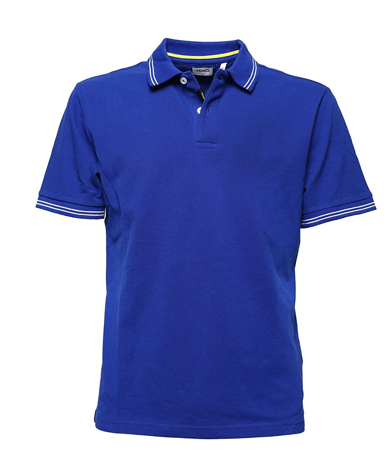 Bay Short Sleeve PoloShirt with Rib at Collar and at Sleeve Edge Mens, 100% Cotton blueee Montecarlo Two Buttons Opening 2XLarge
