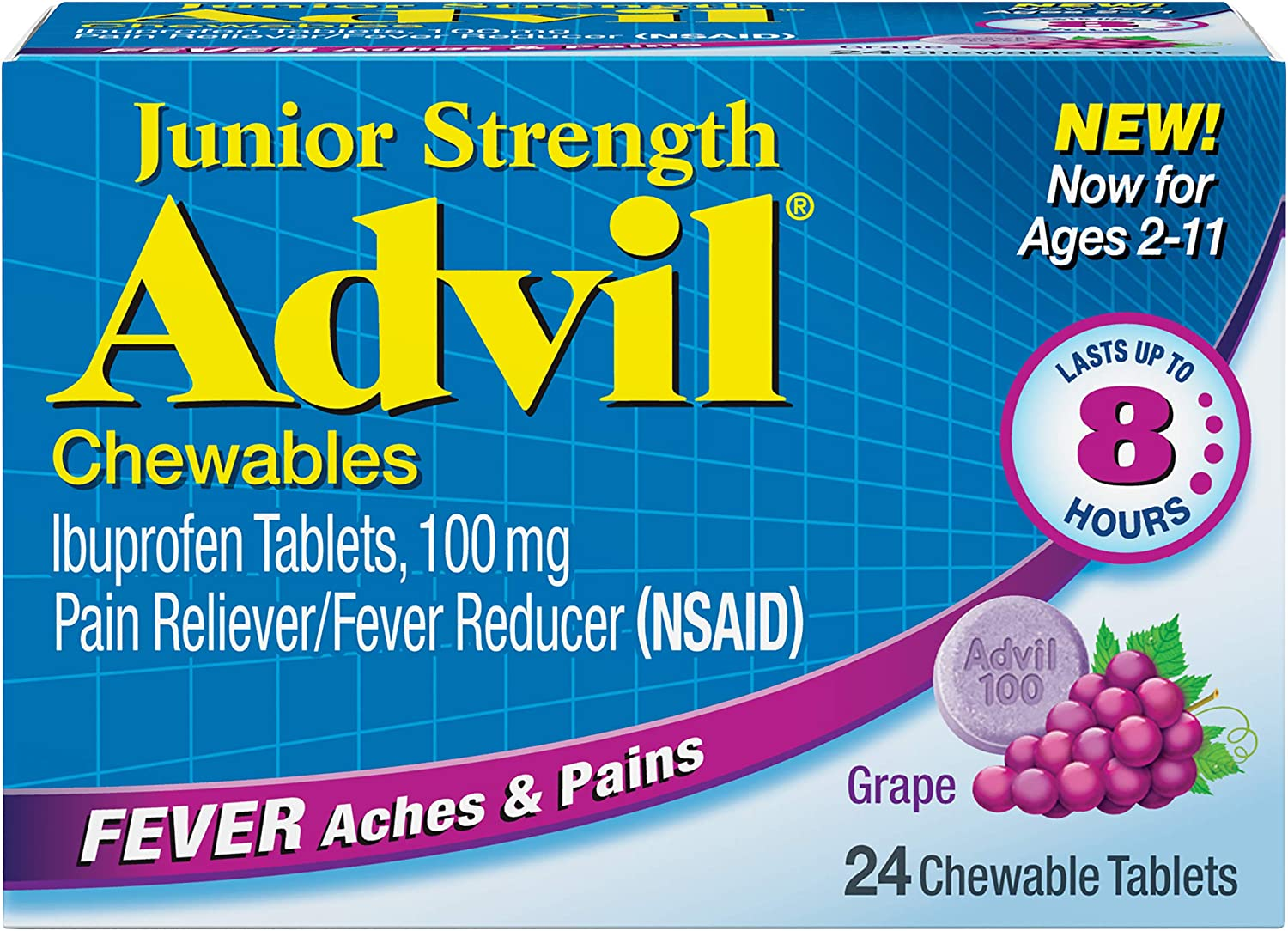 Advil Junior Strength Chewables (24 Tablets, Grape Flavor), 100mg Ibuprofen, Fever Reducer/Pain Reducer, Ages 2–11, Pack of 2: Health & Personal Care