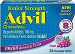 Advil Junior Strength Chewables (24 Tablets, Grape Flavor), 100mg Ibuprofen, Fever