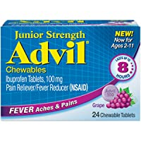 Advil Junior Strength Chewables (24 Tablets, Grape Flavor), 100mg Ibuprofen, Fever...