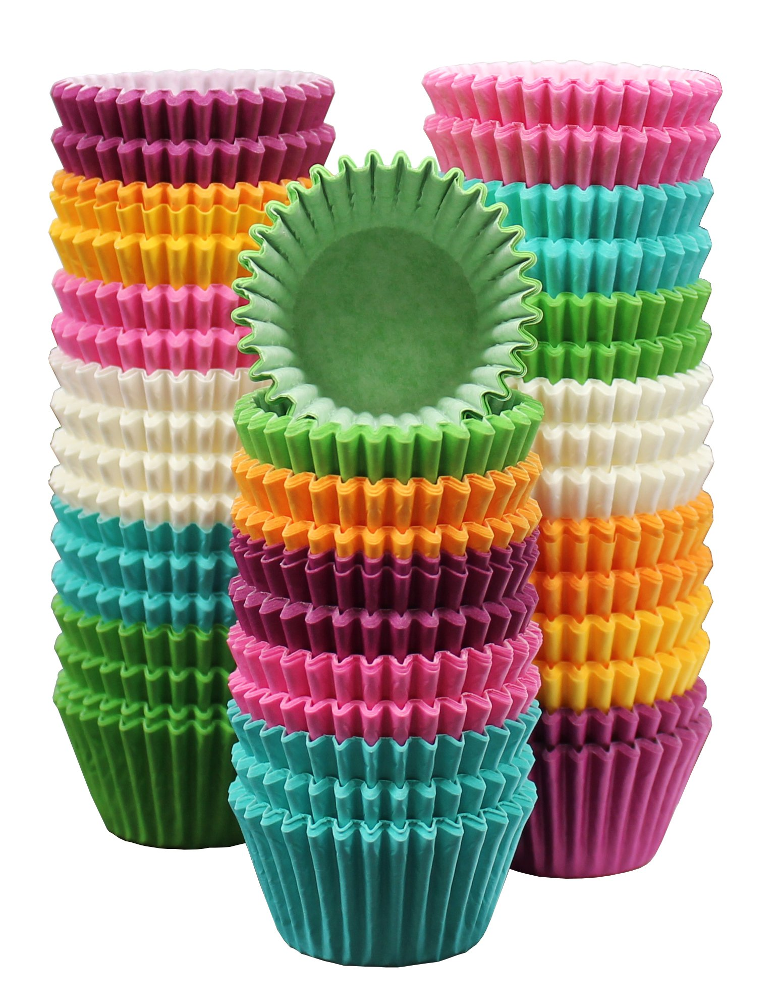 MontoPack 300-Pack Holiday Party Rainbow Paper Baking Cups - Mini 1.15'' No Smell, Safe Food Grade Inks and Paper Grease Proof Cupcake Liners Perfect Cups for Cake Balls, Muffins, Cupcakes, and Candies