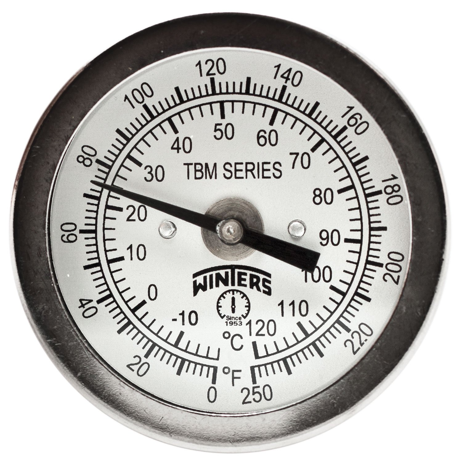 Winters TBM Series Stainless Steel 304 Dual Scale Bi-Metal Thermometer, 4'' Stem, 1/4'' NPT Fixed Center Back Mount Connection, 2'' Dial, 0-250 F/C Range