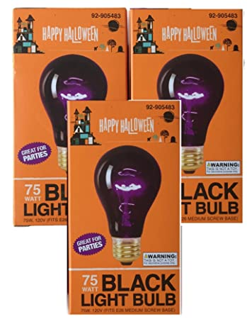 triple pack 75 watt halloween black light bulbs - Halloween Light Bulbs