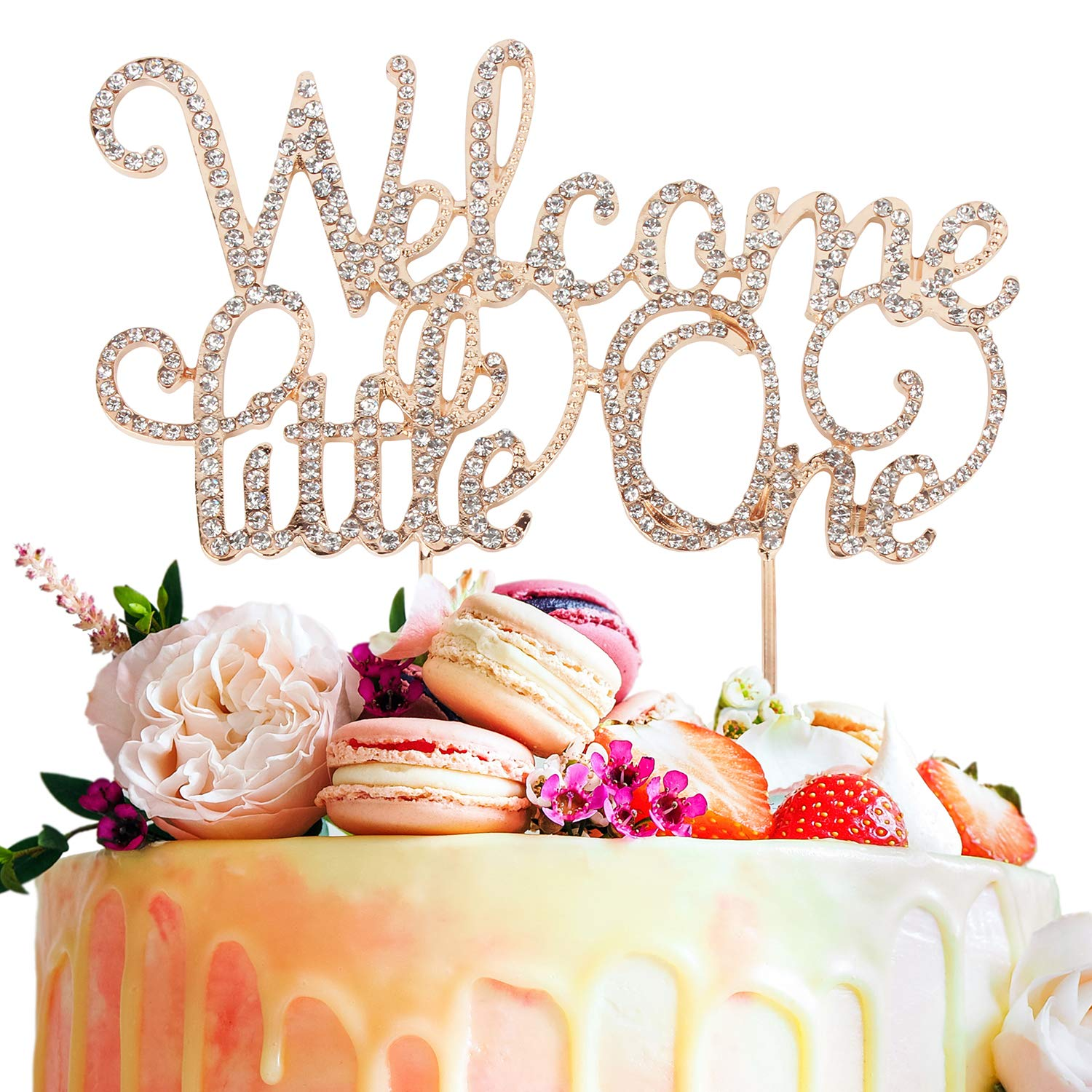 Welcome Little One Rhinestone Crystal Gold Metal Cake Topper Sweet Baby Shower Party Decoration Keepsake Gift - 5.9'' x 8.3''(Gold).