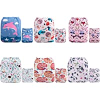 ALVABABY Cloth Diaper 6 Pack Fitted Pocket Cloth Diaper with 2 Inserts Each Boy and Girl 6DM21-AU