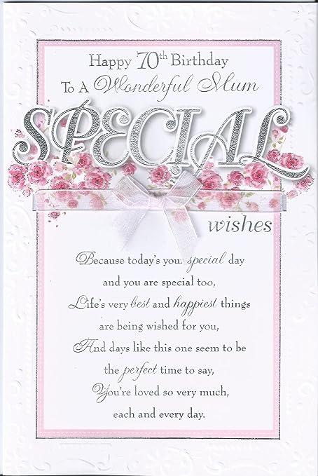 Mum 70th Birthday Card Happy 70th Birthday To A Wonderful Mum