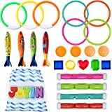 JOYIN 24 Pcs Diving Pool Toys Set with Bonus Storage Bag Includes 7 Diving Rings, 4 Diving Sticks, 4 Toypedo Bandits and 9 Pi