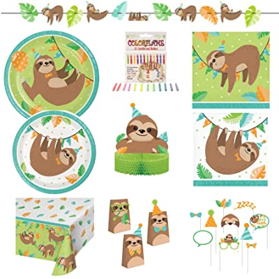 Olive Occasions Sloth Happy Birthday Party Kit 16 Dinner Plates, 16 Cake Plates, 16 Lunch Napkins 16 Beverage Napkins, Banner, Table Cover, Treat Bags, Photo Props, Centerpiece, 12 Candles, Recipe: Kitchen & Dining