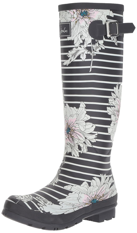 Joules Women's Welly Print Rain Boot B06XGMTV79 9 B(M) US|Grey Peony Stripe