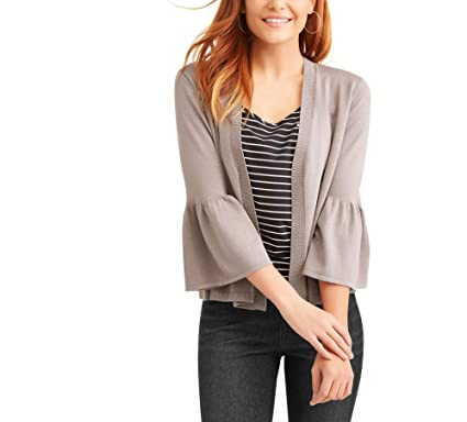 6570df2d1277 TIME AND TRU Womens Wrap Cardigan Size XXL Solid Grey Mauve 3 4 Bell ...