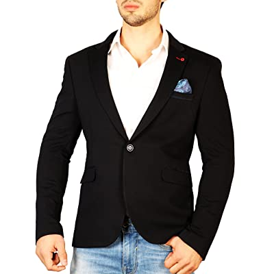 Armina Exclusive Men's Contrast Lapel Pin Fitted Jacket- Navy at Amazon Men's Clothing store