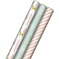 Hallmark Pink Christmas Wrapping Paper with Cut Lines on Reverse (3 Rolls: 120 sq. ft. ttl) Pink, Mint, Gold, Reindeer, Christmas Trees, Snowflakes