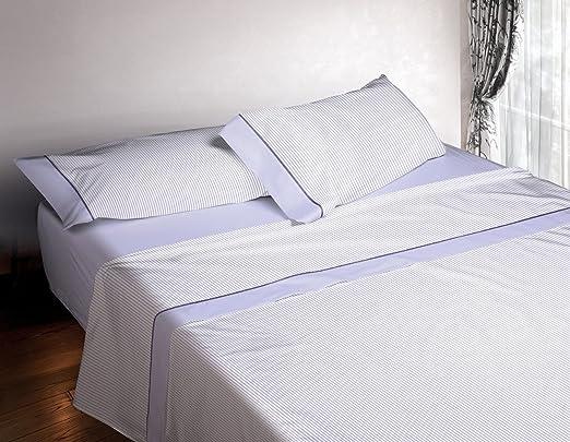 Burrito Blanco Juego de Sábanas 4 piezas (Encimera, 2 Fundas de Almohada y Sábana Bajera Ajustable) Algodón 100% para Cama de Matrimonio de 150x190 cm hasta 150x200 cm, Rayitas Azul y Blanco: