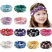 Thunaraz 12 Pcs Baby Headbands Turban Knotted Hairbands for Newborn Girls and Toddler Kids