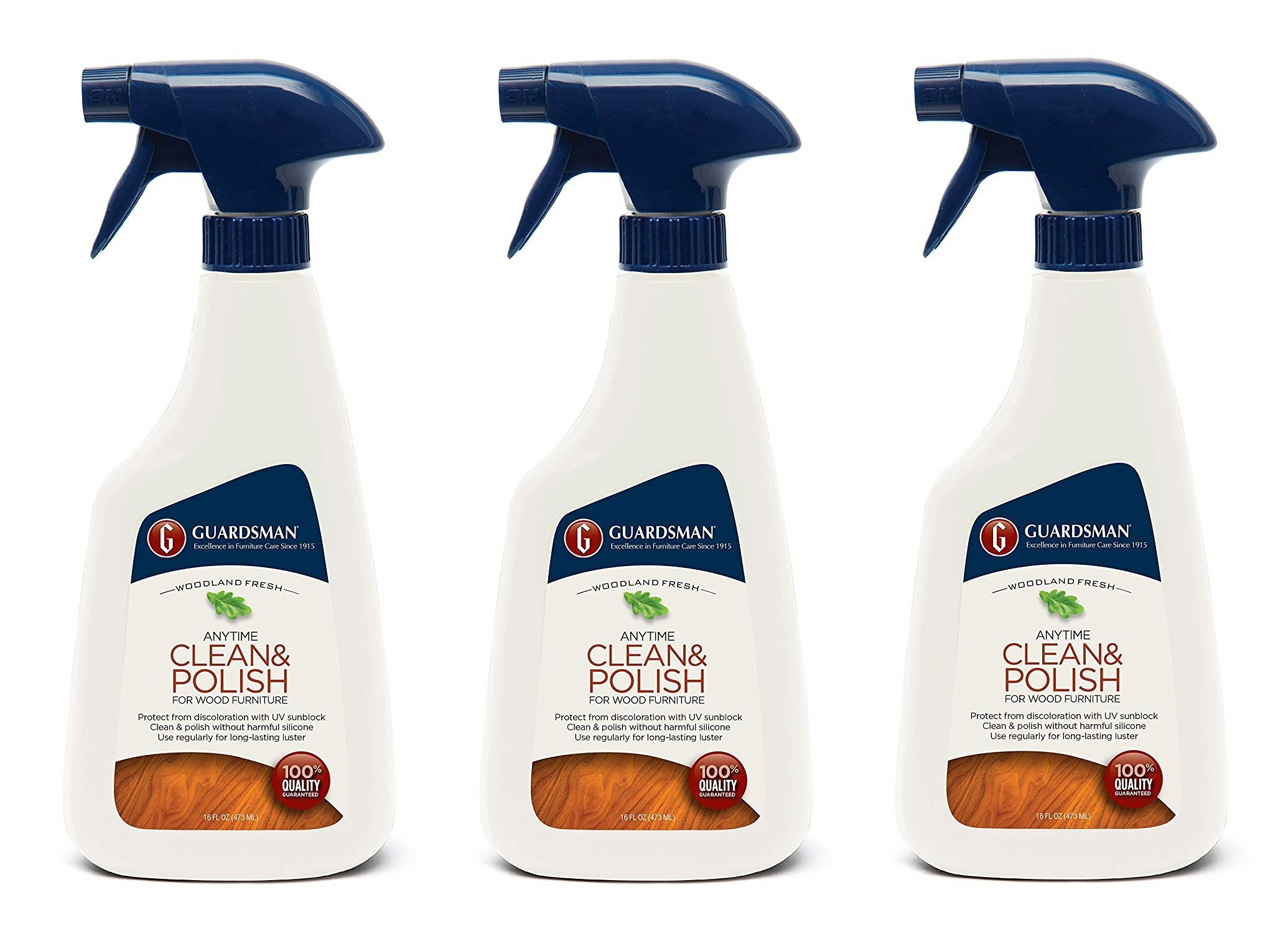 Guardsman Clean & Polish For Wood Furniture - Woodland Fresh - 16 oz Spray - Silicone Free, UV Protection - 461100 (3-(Pack))
