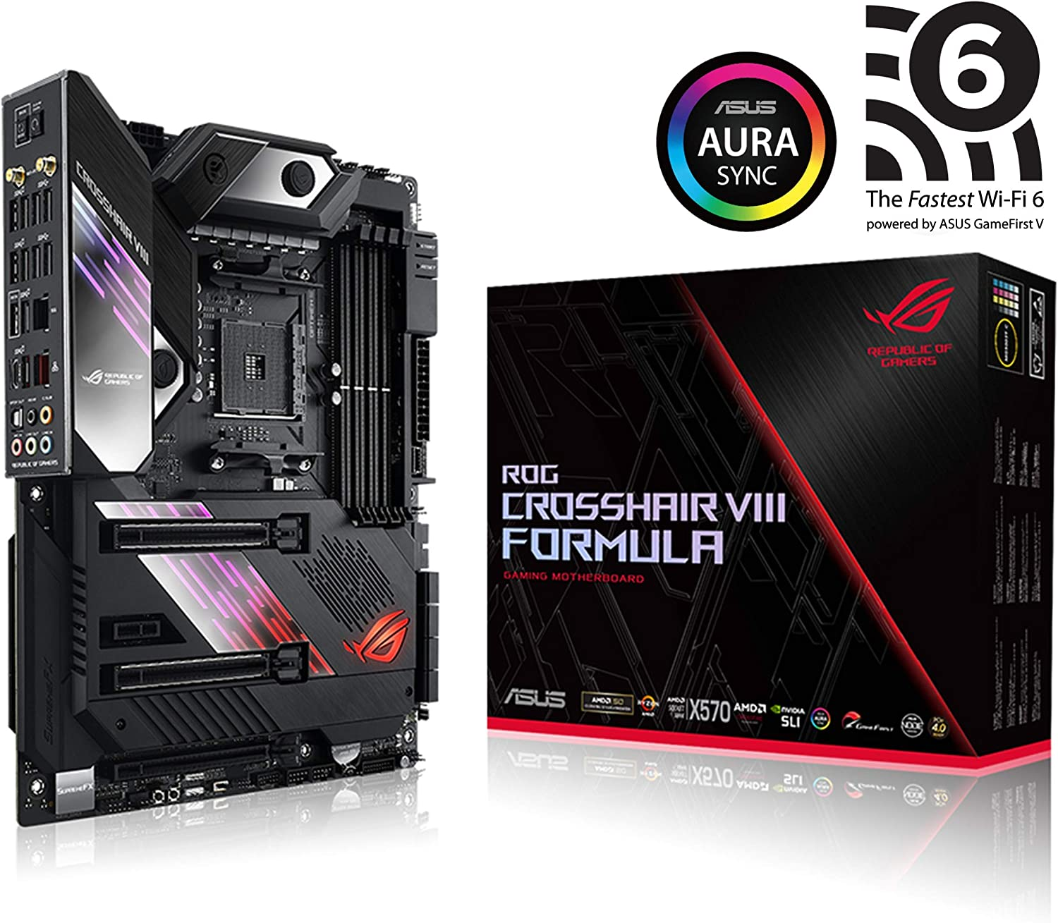 Asus ROG X570 Crosshair VIII Formula ATX Motherboard with PCIe 4.0, on-Board WiFi 6 (802.11Ax), 5 Gbps LAN, USB 3.2, SATA, M.2, Node and Aura Sync RGB Lighting