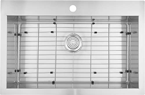 Artika SS3120T18-CCA 31 x20 Single Bowl Undermount or Drop-in 18 Gauge Kitchen Sink Stainless Steel with Grids Included, 31 x 20 , Brushed Nickel