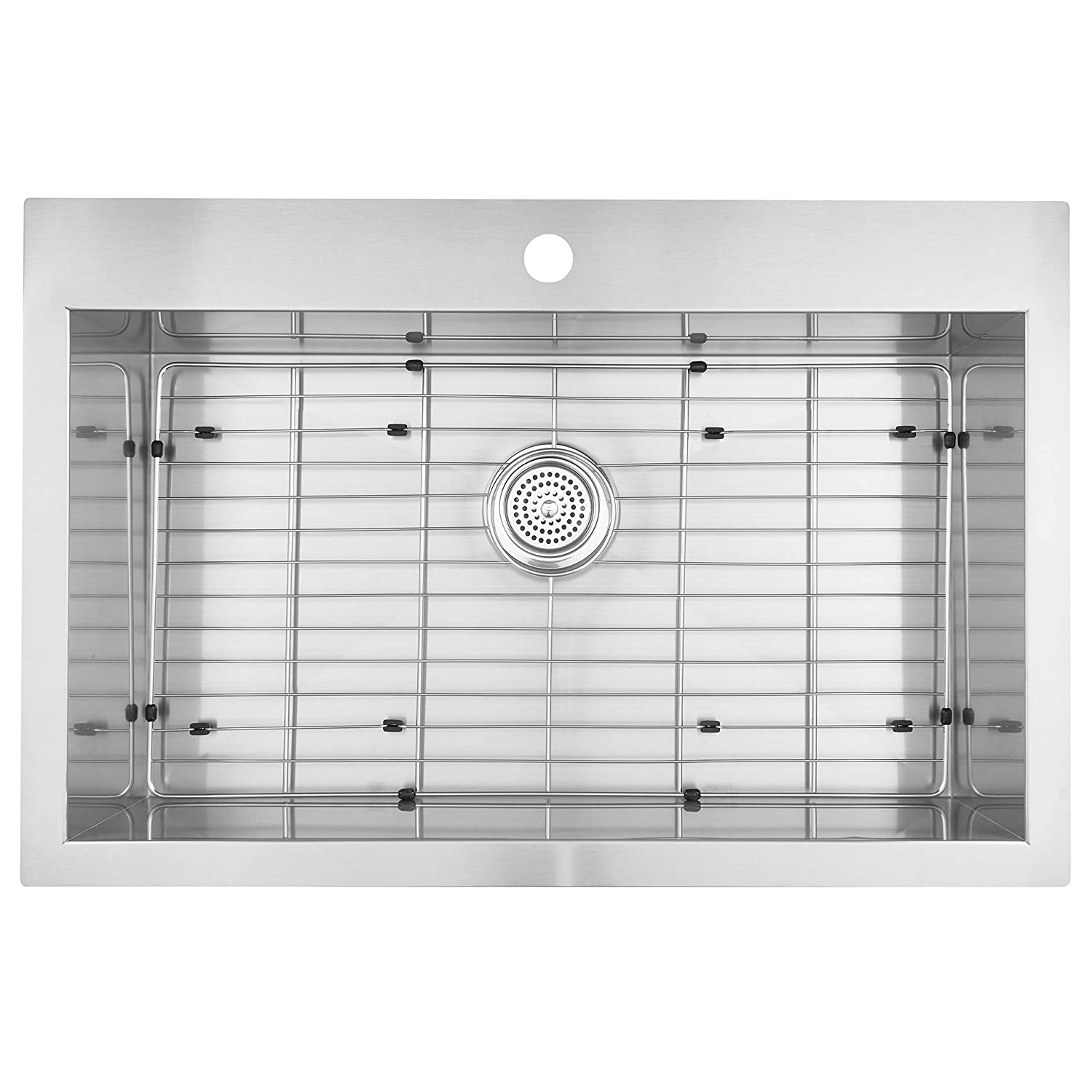"Artika SS3120T18-CCA 31""x20"" Single Bowl Undermount or Drop-in 18 Gauge Kitchen Sink Stainless Steel with Grids Included, 31"" x 20"", Brushed Nickel"
