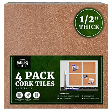 Premium Cork Tiles 12 x12  - 1/2  Thick - Cork Board - Bulletin Board - Mini Wall - Ultra Strong Self Adhesive Backing - 4 Pack
