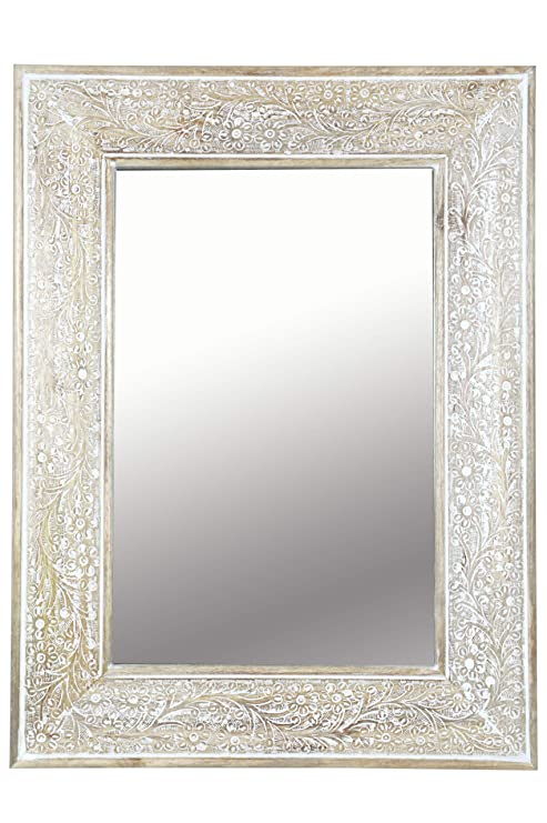 Orient Spiegel Wandspiegel Lola 60cm Braun Weiss Großer